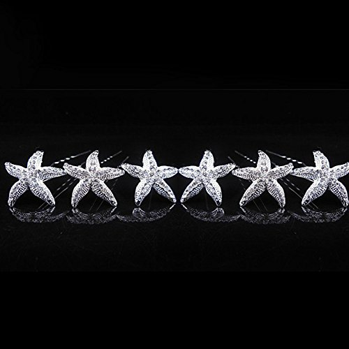 NiceWave 10 Pcs Crystal Starfish Hair Pins in Silver Tone for Wedding Hair pins Bridal Bride Hair Accessories for Beach Themed Wedding, Party, Daily Use