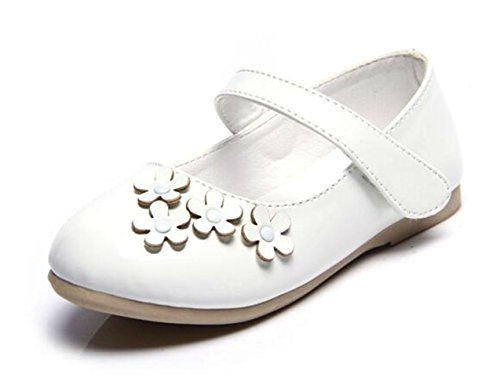 PPXID Girl's Sweet Flower Princess Mary Jane Flats Sandals Shoes(Toddler/Little Kid/Big Kid)-White 13 US Size ()