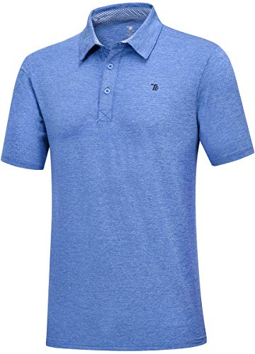 JINSHI Golf Shirts for Men - Dry Fit Short-Sleeve Polo Athletic Casual Collared T-Shirt Sky Blue Size S
