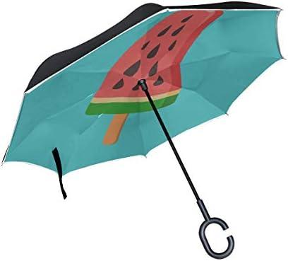 Double Layer Inverted Umbrella Inverted Compact Wassermeloneneis am Stiel Umkehrbarer Regenschirm Compact Umbrella Inverted Winddichter UV-Schutz für Regen mit C-förmigem Griff