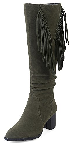 Booties Aisun Suede Comfy Army Knee Women's Green High Faux Fringe Ux16Up