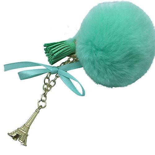 Makwes Chic Eiffel Tower Ball Tassel Key Chain,Keyring Keychain Pom Pom Ball,Plush Keyring,Fluffy,Charm Decor,Hanging Ornament,Car Phone Decoration Bag,Lady Woman Party Wedding Gift (Mint Green)