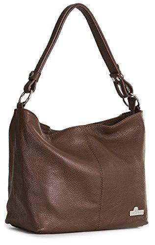 LIATALIA Womens Genuine Italian Leather Medium Size Shoulder Hobo Bag - Adjustable Long Strap Handbag - EMMY [Dark Tan]