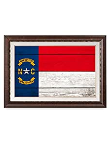 """DecorArts - North Carolina State Flag(Framed). Giclee Print on 100% Archival Cotton Canvas, Canvas wall art for Wall Decor. Finished size: 30x22x1.5"""""""