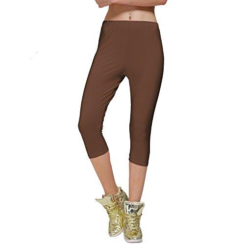 DIAMONDKIT Stretch Cotton Capri Crop Leggings Tights (L, Brown)