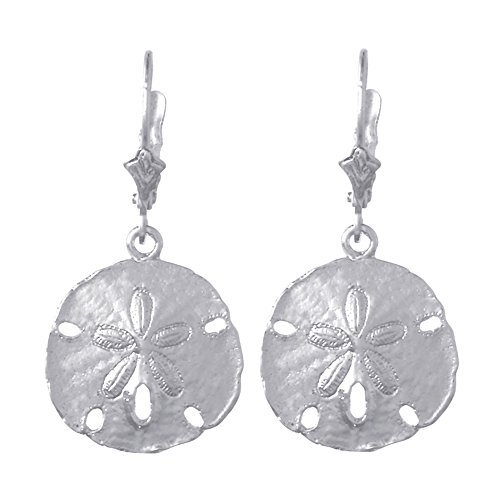 925 Sterling Silver Nautical Sand Dollar Lever Back Earri...