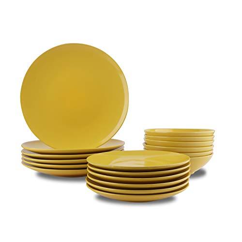AmazonBasics 18 Piece Stoneware Dinnerware Set Sunshine Yellow Service for 6