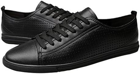 [スポンサー プロダクト][バンキク] スニーカー シンプル 白 黒 レザースニーカー メンズ カジュアル 革靴 ローカット スケートボードシューズ 通気 透かし彫り