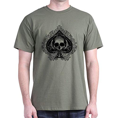 CafePress Skull Ace of Spades Dark T Shirt 100% Cotton T-Shirt Military Green