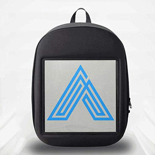 QSBY LED Lights Backpack Bag Smart WiFi Advertising Knapsack Dynamic Shoulder Bag with Advertising Screen for Boys Girls to Show Youth Gray