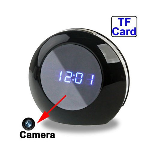 Flylinktech Portable Black Spy Camera Alarm Mirror Clock DVR Camcorder...