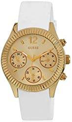 GUESS W0324L1 Women's White and Silver-Tone Sparkling Hi-Energy Mid-Size Watch