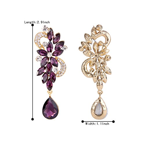 BriLove Women's Wedding Bridal Dangle Earrings Bohemian Boho Crystal Flower Chandelier Teardrop Bling Earrings Amethyst Color Gold-Tone by BriLove (Image #4)
