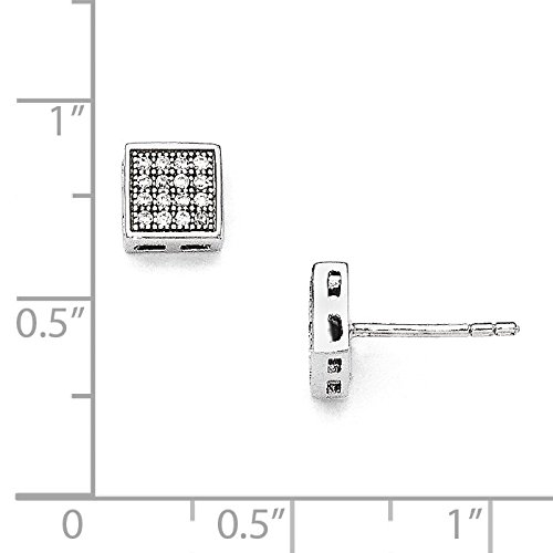 Sterling Silver /& CZ Brilliant Embers Square Post Earrings #663