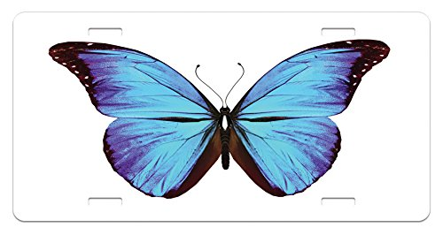 Lunarable Butterflies License Plate, Flying Butterfly Vibrant Wings Natural Art Jungle Wildlife, High Gloss Aluminum Novelty Plate, 5.88 L X 11.88 W Inches, Chesnut Brown Violet Sky Blue