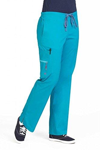 Peaches Uniforms Women's 'Life Is Peachy' Kari Flare Leg Scrub Pant, Ocean, (Girls Flare Leg Twill Pants)