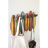 Kalalou Colorful Wooden Surfboards Coat Rack
