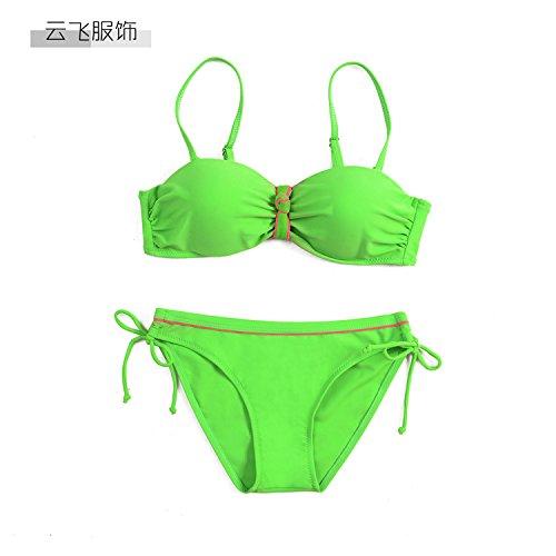 YONGYI Europa y el elegante y playa verano 2017 bikini de color puro Sra. bikini bañador, Verde 38
