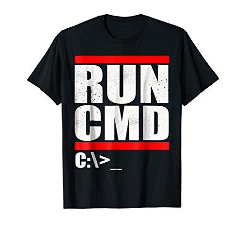 T-shirt Nerd Computer (Mens Run CMD T Shirt   Computer Nerd T Shirt Large Black)