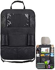Tingz 1 styck bilstolsorganisatör, bil ryggstödsskydd, stora fickor 600D Oxford-tyg vattentätt baksätesskydd med 12 tums iPad surfplatteväska, sparkskydd för bilsäten.