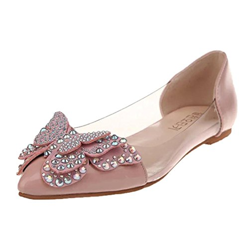 On Butterfly 5 Tenworld Black 5 Slip Toe Pink Ballet Flats Pointed Women's Casual Shoes PqPaX