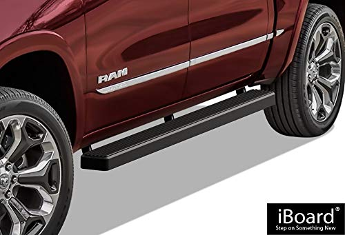 iBoard (Black Powder Coated 4 inches) Running Boards | Nerf Bars | Side Steps | Step Rails For 2019-2020 Ram 1500 Crew Cab Pickup 4Dr For New Body Style ONLY (Will Not Fit 2018 Model Build in 2019) - Ram New