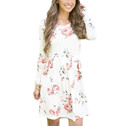 Damen Elegant Floral Langes Jerseykleider Casual Rundhalsausschnitt Langarm  Shirtkleider Lose Winterkleider Weiß C9Amlf6fo f6ce68ddca