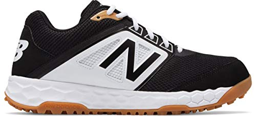 New Balance Men's 3000v4 Turf Baseball Shoe, Black/White, 10 2E US