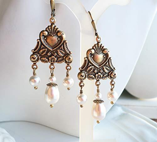 Nouveau Brass Chandelier - Art Nouveau Antique Gold Brass WHITE Pearl Chandelier Earrings