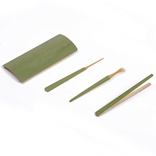 'Four Gentlemen'-C Chinese Bamboo Cha Dao Set 4 Pieces Gongfu Tea Utensil Set