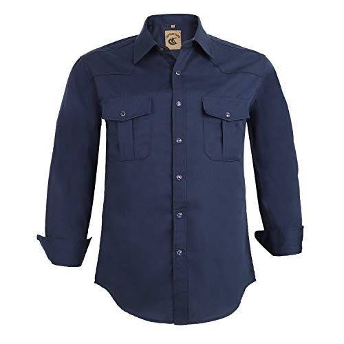 Coevals Club Men's Button Down Solid Long Sleeve Work Casual Shirt (Navy #6, S)