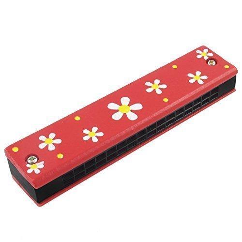 Holz, Blumenmuster, 2 Zeilen 32 Loch Kinder-Mundharmonika, Rot