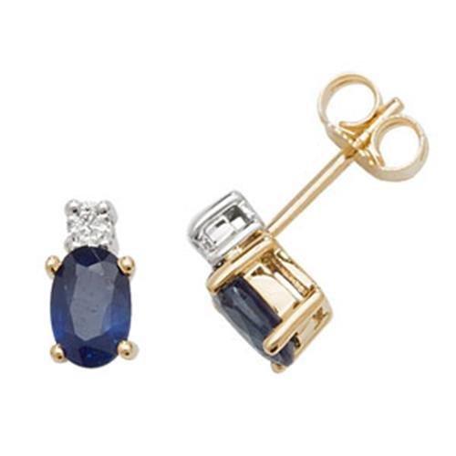 Diamant et Saphir ovale boucles d'oreilles clous or jaune 9carats OV/6x 4