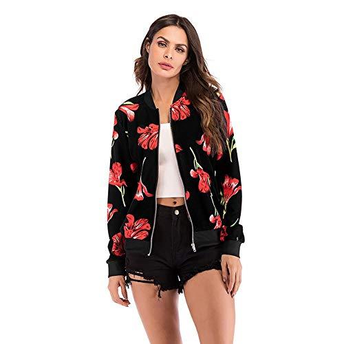 D'opp Femme veste Taille Leking À En De Glissière Femme,vetement Baseball Grande Fleur sac Cardigan Rouge Imprimé Femme ,veste Noir Vrac Veste Uniforme RAqqp4FW