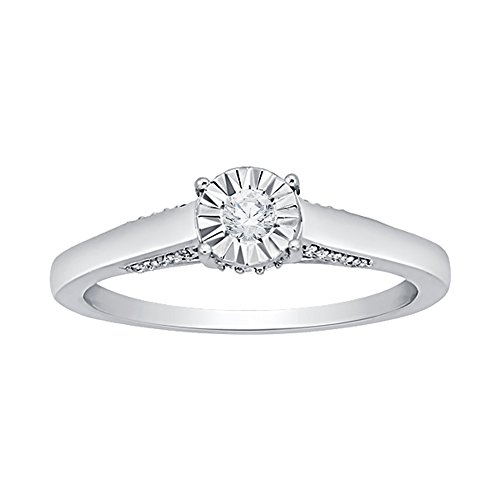 Diamond Engagement Ring in Sterling Silver (1/6 cttw) (GH Color, I2-I3 Clarity) (Size-13) by KATARINA