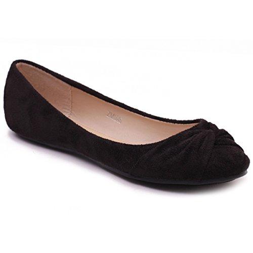 Ollio Women's Shoe Twist Decorative Ribbon Faux Suede Ballet Cute Comfort Flat ZM1846(9 B(M) US, Black)