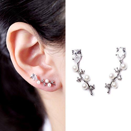 EVERU Vine Jewelry Sweep Wrap Pearl Leaf CZ Flowers Ear Cuff Stud - Flower Pearl Cuff