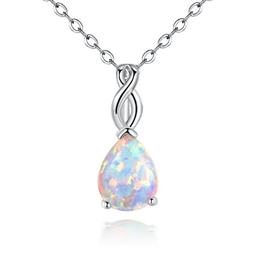OPALTOP 18K White Gold Plated 8x10MM Teardrop October's Birthstone Gemstone Opal Pendant Necklace 17.5inches (white) ()