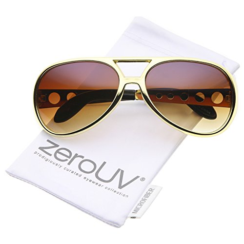 Large Elvis King Of Rock & Roll Aviator Sunglasses 63mm (Gold/Amber)