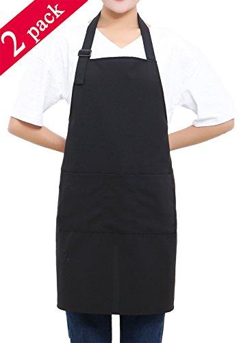 3 Pocket Bib Apron (SEW UR LIFE (2 set) Black Professional Resist Water Adjustable Plus Size Bib Apron 3 Pockets Home Kitchen Garden Restaurant Cafe Bar Pub Bakery for Cooking Chef Baker Servers Craft Unisex)