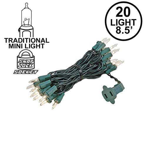 Novelty Lights 20 Light Clear Christmas Craft Mini Light Set, Green Wire, 8' Long