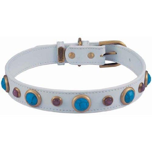 Turquoise & Cat Eye Imperial White Leather Dog Collar - Medium