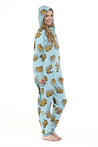 Womens Aqua Sleepy Garfield Onesie
