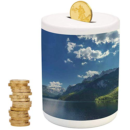Lake House Decor,Ceramic Child Bank,Printed Ceramic Coin Bank Money Box for Cash Saving,Morning on Mountain Lake Gosausee Located in The Austia Alps Europe Cloudscape