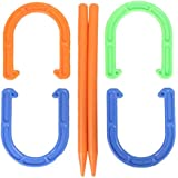 Horseshoes Game Safety Plastic Horseshoe Set Durable Horse Shoes Toss For Kids Outdoor Sports Camping Yard Lawn Game Toy Color May Vary