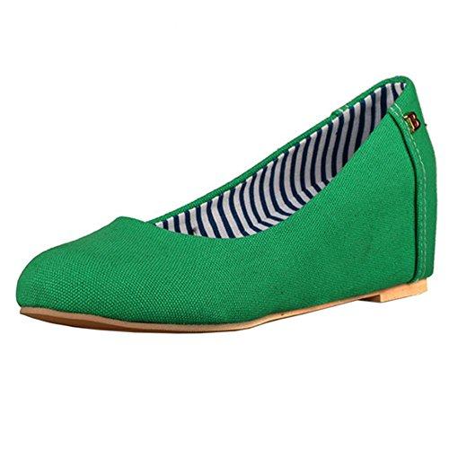 Grün Damenmode COOLCEPT Schuhe Espadrilles Pumps Mid Dolly Heels Lässige Wedges qSTzndT