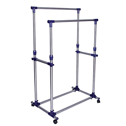 SONGMICS Double Rod Garment Clothing Rack on Wheels Clothes Racks for Hanging Clothes ()