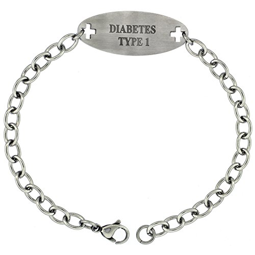 Surgical Stainless Steel Medical Alert Type 1 Diabetic Bracelet 9/16 inch wide, up to 9 inch ()