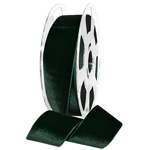 "Morex Ribbon Nylvalour Velvet Ribbon, Nylon, 1 1/2 inches by 11 Yards, Hunter Green, Item 01240/10-621, 1.5"" x 11 Yd,"