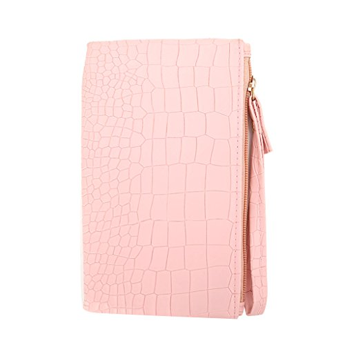 Best-topshop Purse Handbag with Zipper for Women Girls, Stone Pattern Leather Casual Hand Strap Long Clutch Pouch for Shopping Party School Outdoor (Pink)